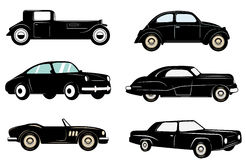 Set of retro cars icons. Retro vector design graphic element, emblem, logo, insignia, sign, identity, logotype, poster. Vector design elements Royalty Free Stock Photography