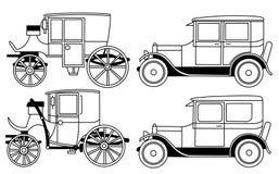 Set of the retro cars - vector Royalty Free Stock Photos