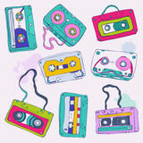 Set of retro cassette tapes. Vector illustration Royalty Free Stock Photos
