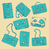 Set of retro cassette tapes Stock Photo