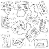 Set of retro cassette tapes Stock Photography