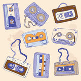 Set of retro cassette tapes. Vector illustration Royalty Free Stock Images