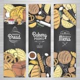 Set of retro chalk drawing bakery banners. Bakery products. Illustration Royalty Free Stock Images
