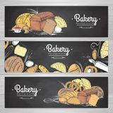 Set of retro chalk drawing bakery banners. Bakery products. Illustration Stock Photography