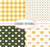 Set of  retro childish seamless patterns Stock Photos