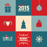 Set of retro Christmas and New Year cards in blue. Red, white vector illustration