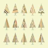 Set of Retro Christmas Trees. EPS 8 Stock Photo