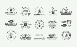 Set of retro cleaning logo badges, emblems and labels in vintage style. Monochrome Graphic Art. Vector Illustration vector illustration