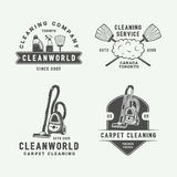Set of retro cleaning logo badges, emblems and labels. In vintage style. Monochrome Graphic Art. Vector Illustration stock illustration