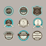 Set of retro coffee house shop badges, labels, logo Royalty Free Stock Photography