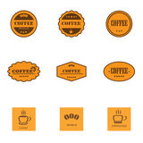 Set of retro coffee labels Stock Images