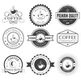 Set of retro coffee labels, ribbons and cards for vintage design Stock Images