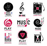 Set of retro Collection of music logos and emblems. Royalty Free Stock Images