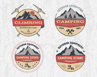 Set of retro color outdoor camping adventure and. Mountain, climbing, hiking badge logo, emblem, label. Vintage design. Summer, winter travel with family Royalty Free Stock Images