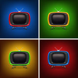 Set retro color tv with background Royalty Free Stock Image