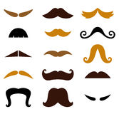 Set of retro colorful Mustaches isolated on white Royalty Free Stock Photos