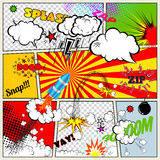 Set of Retro Comic Book Vector Design elements, Speech and Thought Bubbles stock illustration