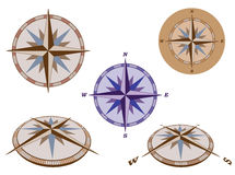 Set of retro compasses Stock Photo