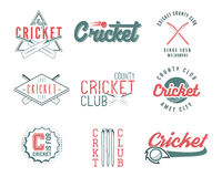 Set of retro cricket sports template logo designs. Use as icons, badges, label, emblems or print. Vector illustration Stock Image