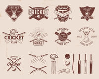 Set of retro cricket sports template logo designs. Use as icons, badges, label, emblems or print. Vector illustration Royalty Free Stock Image