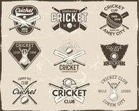 Set of retro cricket sports template logo designs. Use as icons, badges, label, emblems or print. Vector illustration Royalty Free Stock Photo