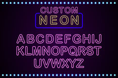Set retro custom neon signs background Royalty Free Stock Photo