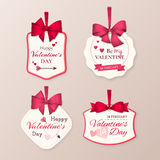 Vector set of retro cute labels to celebrate Valentine`s Day with red bow, hearts, arrow and text. Set of retro cute labels to celebrate Valentine's Day Stock Image