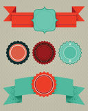 Set of retro design elements. Vector labels, ribbons, buttons Stock Photos
