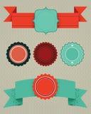 Set of retro design elements. Vector labels, ribbons, buttons stock illustration