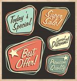 Set of retro design elements. Artistic concept of promotional labels, badges, stickers, ads and bubble speeches. Vintage collection of advertisements and Royalty Free Stock Photo
