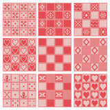 Set of 9 retro different vector knitting seamless patterns Stock Photos