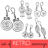 Set of retro earrings Royalty Free Stock Photos