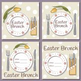 Set of retro Easter Brunch vector cards. With a plate, a knife and a fork on each, decorated with tulip on dotted packground Stock Photography