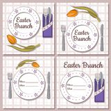 Set of retro Easter brunch vector cards stock illustration