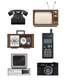 Set of retro electronics. Set of six retro electronics vector illustrations. There is a telephone, mobile phone, television, radio, computer and camera. Eps Royalty Free Stock Image
