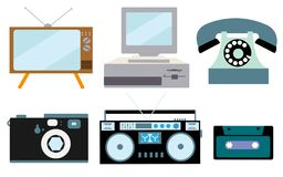 A set of retro electronics, technology. Old, vintage, retro, hipster, antique kinescope TV, computer with floppy, disk phone, came. Ra, cassette audio tape royalty free illustration