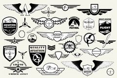 Set retro emblems, design elements , badges and logo. Aviation Royalty Free Stock Photos