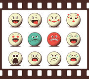 Set of retro emoji emoticons. Set of retro emoticons. Vintage design elements of emoji in the photo film stripe frame Royalty Free Stock Photo