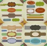 Set retro faborki, stary brudzi papierowe tekstury, rocznik etykietki, sztandary i emblematy. Elementy inkasowi dla projekta. Fotografia Stock