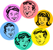 Set of retro family faces. Comic book style set of vintage illustrated faces stock illustration