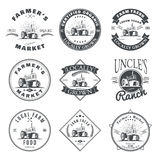 Set of retro farm fresh labels, badges and design elements. Vector Stock Image