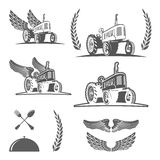 Set of retro farm tractor design, badges and design elements. Vector Royalty Free Stock Photography