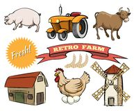 Set of Retro Farm vector icons Royalty Free Stock Photos