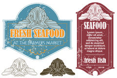 Set of retro fish market labels Royalty Free Stock Images