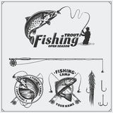 Set of retro fishing labels, badges, emblems and design elements. Vintage style design. Black and white illustration Stock Photos