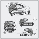 Set of retro fishing labels, badges, emblems and design elements. Vintage style design. Royalty Free Stock Photos