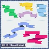 Set of retro and flat ribbons. Vector illustration Stock Images