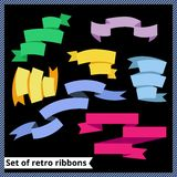 Set of retro and flat ribbons. Vector illustration Royalty Free Stock Images