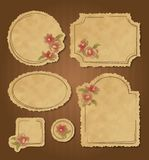 Set of retro floral vintage frames and labels. Set of retro floral vintage grunge frames and labels with torn edges. Scrapbook elements Stock Photos