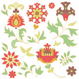 Set of retro flower elements Royalty Free Stock Image